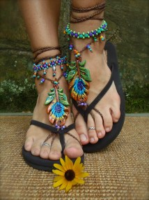 Order Peacock Barefoot Sandals Feather Beach