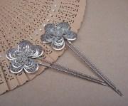 vintage hair combs pair silvertone