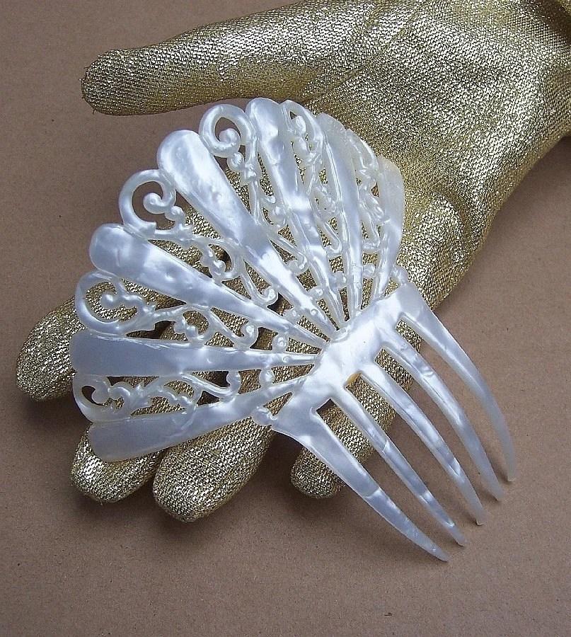 Vintage Hair Comb Art Deco Faux Mother Of Pearl Fan Shape