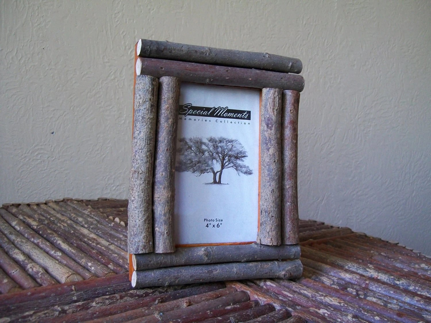 adirondack chair photo frame toddler saucer canada rustic twig log picture frame4x6 lodge cabin