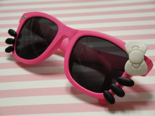 Kids Kitty Sunglasses With Bow And Whiskers Neon Pink