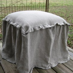 Ruffled Sofa Slipcover Refill Cushions Glasgow Ready To Ship-vanity Stool And Washed Linen