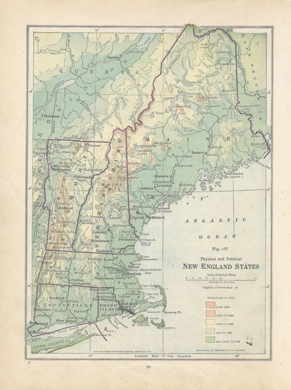Vintage Map New England States Physical And Political S
