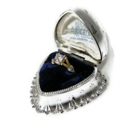 Vintage Ring Box: Dennison Silver Heart for Antique Jewelry