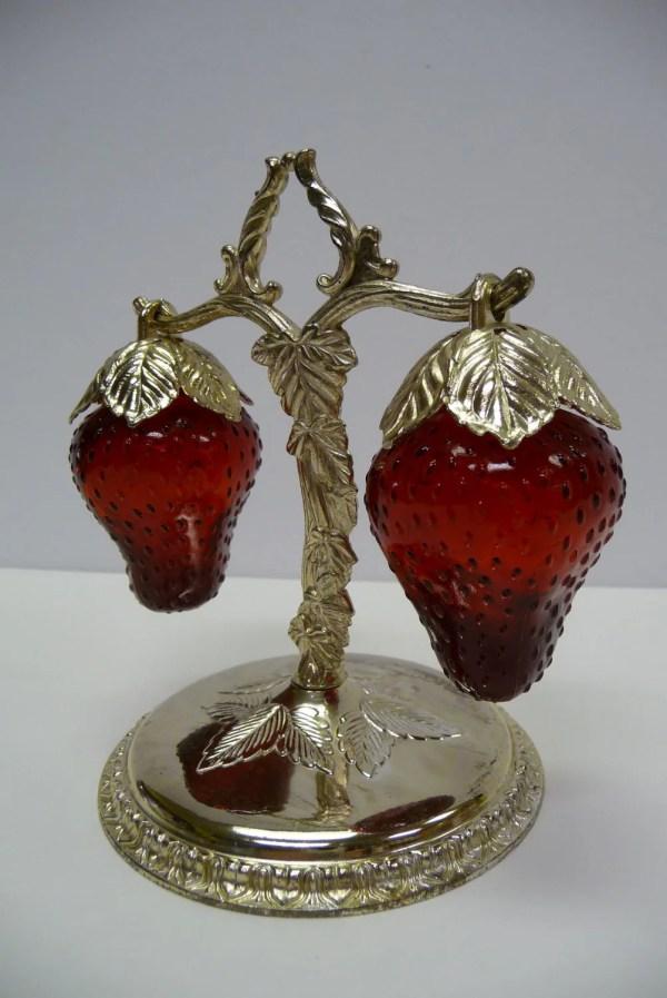 Strawberries Hanging Tree Vine Stand Vintage Salt
