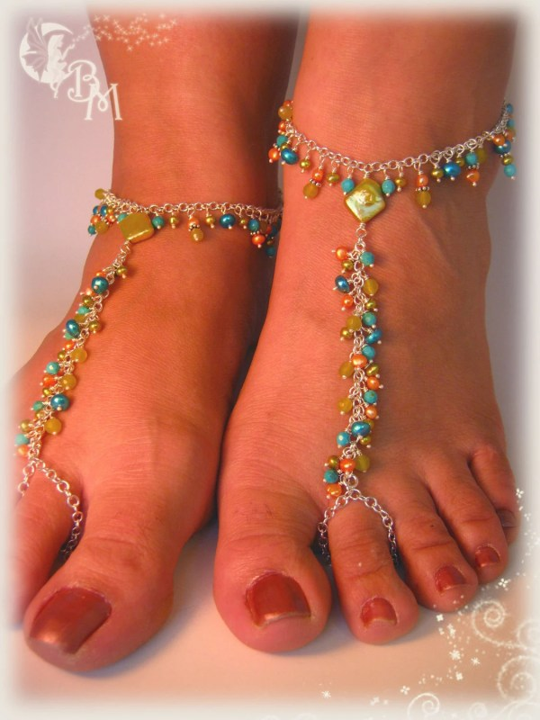 Beaded Barefoot Sandals In Greens And Blues
