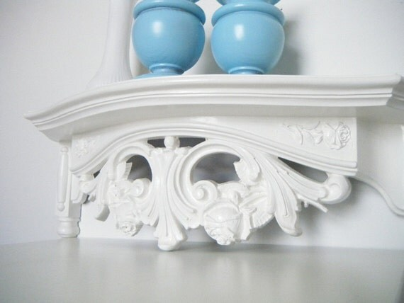 Ornate Shabby Chic Wall Shelf In Antique White By