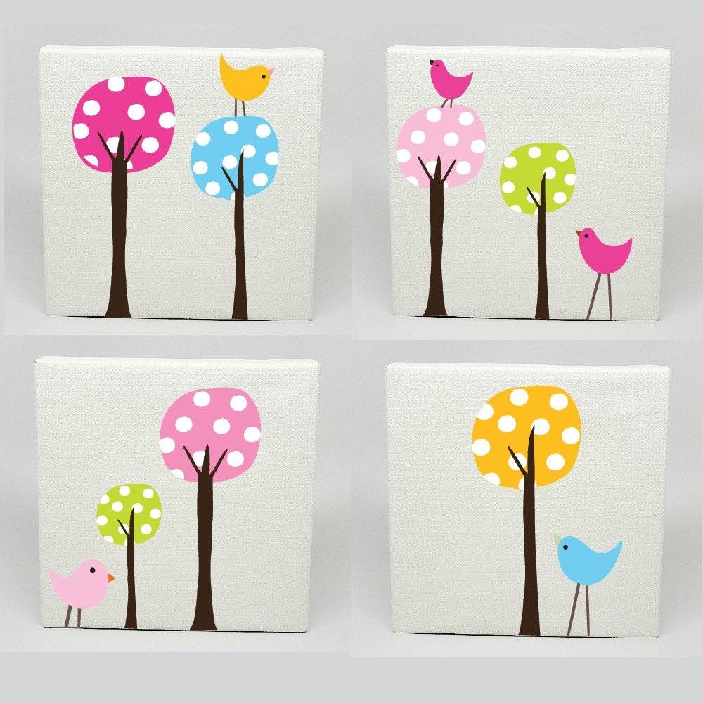 Kids Canvas Art Set of 4 Polka Dot Tree Birds Nursery