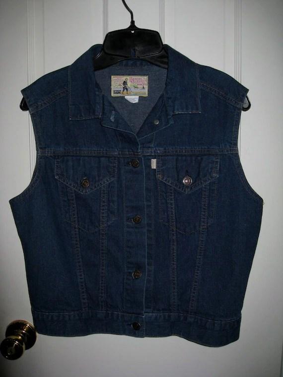 1970s Womens Levis Denim Blue Jean Vest 2 Pocket Med