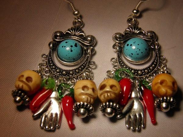 Day Of Dead Earrings Carved Bone Skull Jewelry Frida