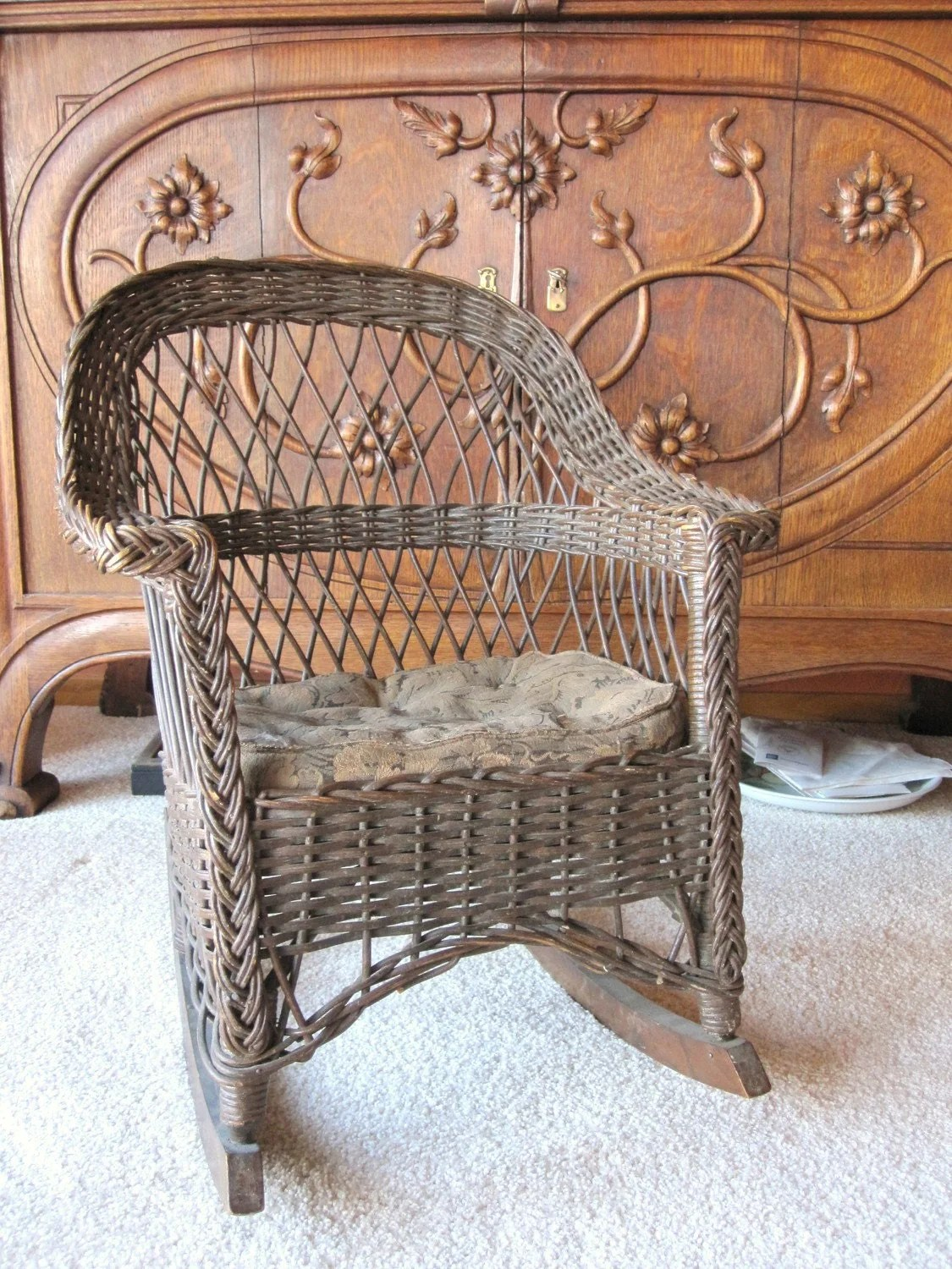 Vintage Rattan Chairs Antique Wicker Rocking Chair Child 39s Rocking Chair New