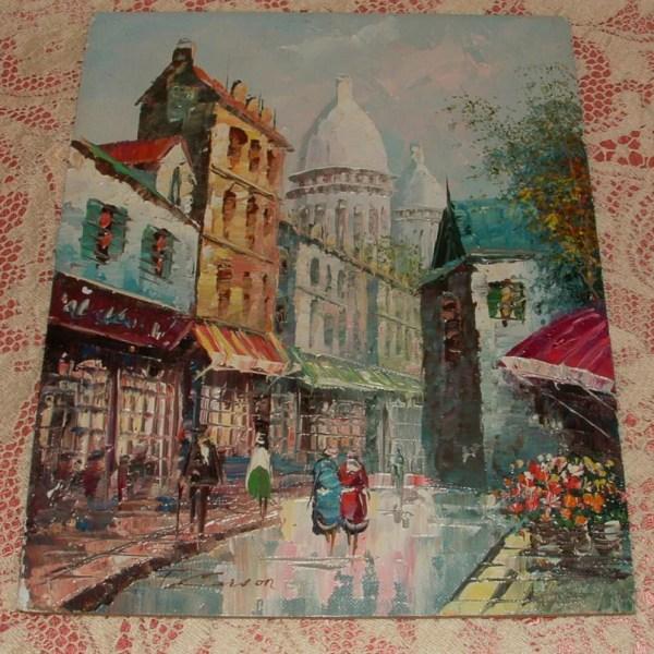 Signed Vintage Original Oil Painting Paris Street Scene