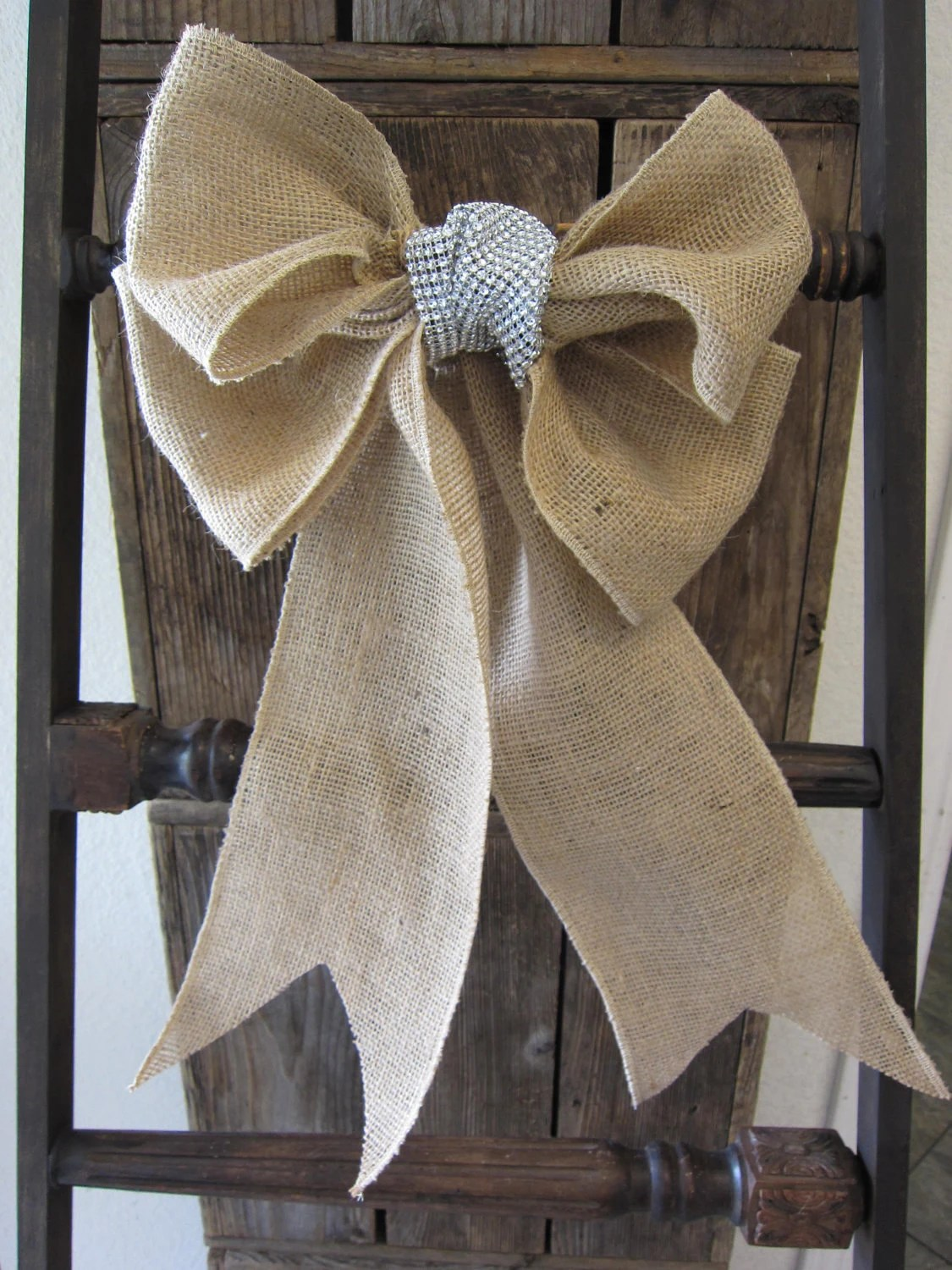 burlap chair sashes zebra camping virginia 39s bow sash by antiquelifestyle on etsy