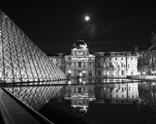 Paris Louvre Reflections Black And White Fine