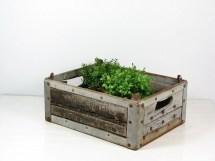 Vintage Wood Metal Milk Crate Herb Planter