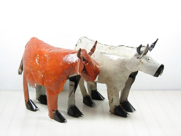 Vintage Metal Animal Sculptures Bull