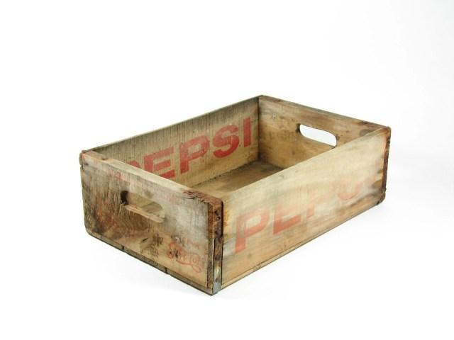 Vintage Wood Pepsi Crate Wooden Box Red Logo by BridgewoodPlace