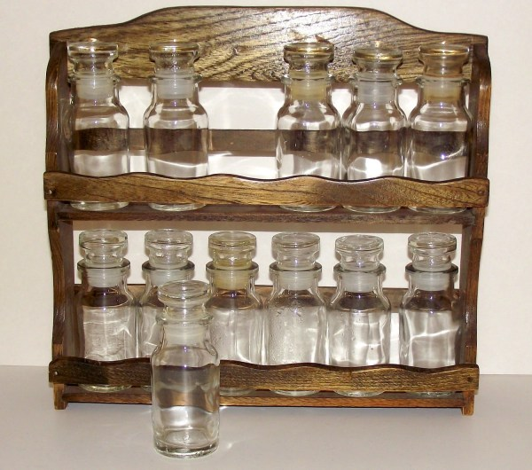 Vintage Spice Rack With 12 Jars Rustybutton