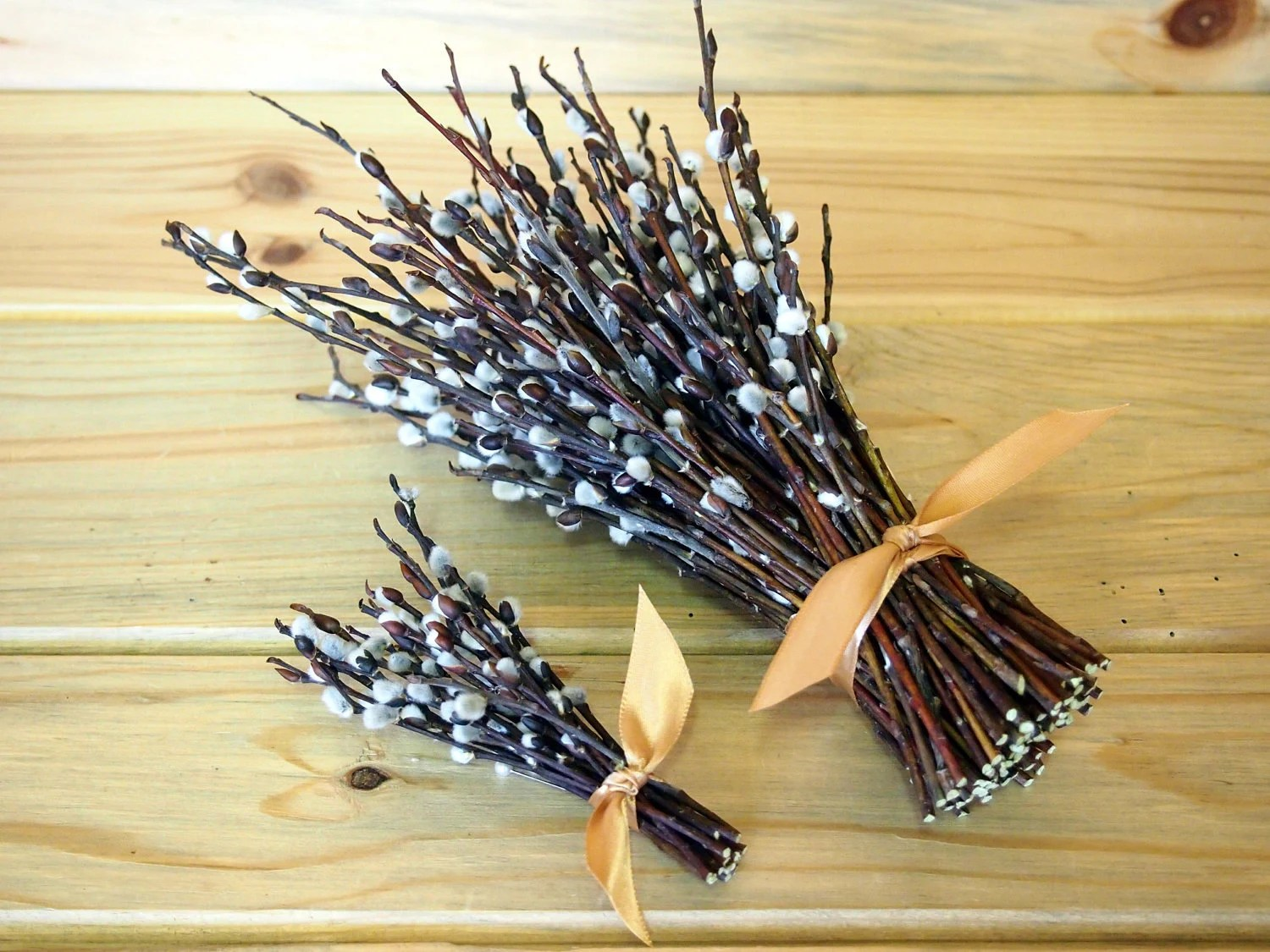 WOODLAND Wedding Bouquet Simple Pussy Willow Bride And Groom