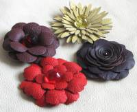 4 handmade leather flowers yellow/red/purple/burgundy DIY
