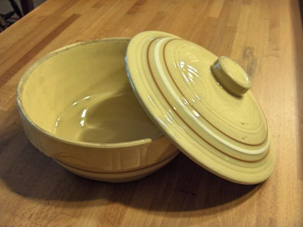 Yellow Ware Bowl with Lid