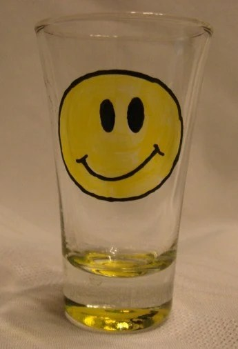 Shot Glass Hand Painted Vintage Smiley Face by CCsCrafts