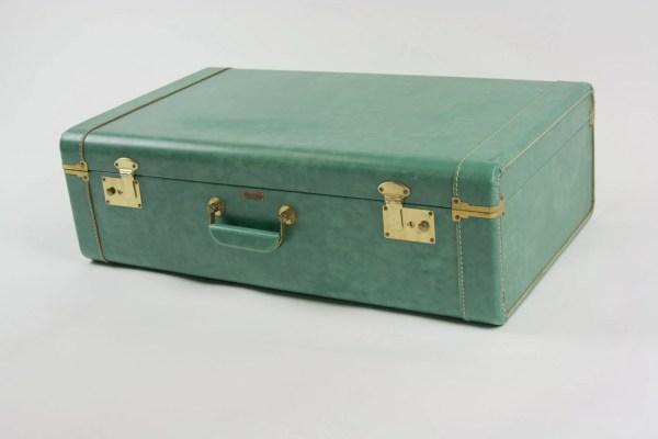 Vintage Antique Suitcase Luggage Teal Green Town Craft Keys