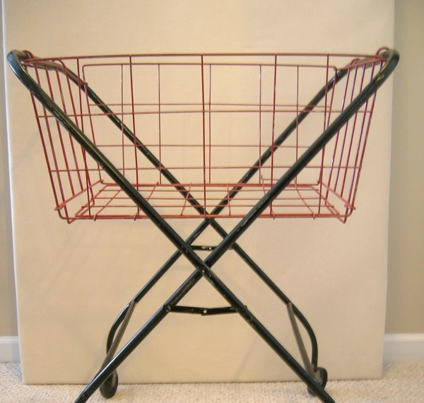 Vintage Folding Wire Laundry Basket