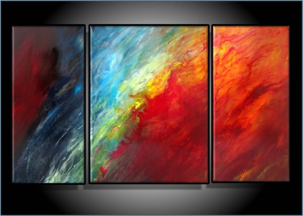Modern Abstract Art. Original Painting. Triptych 24 X 42