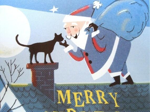 10 Santa And Black Cat Christmas Cards