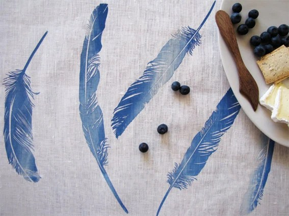 Floaty Feather Tea Towel - Sea Blue - ElkhornDesign
