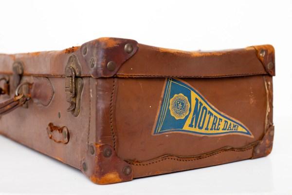 Vintage Suitcase Notre Dame Student Dark Brown Leather