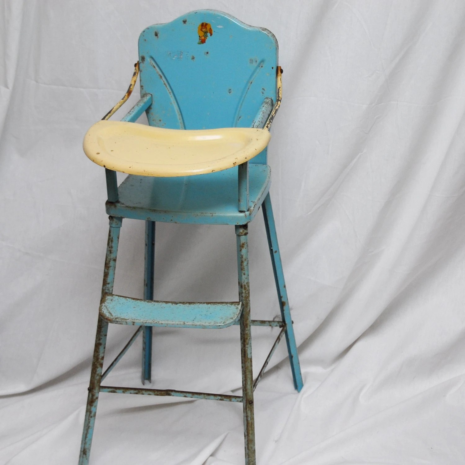 baby boy doll high chair best for back surgery retro 1950 39s toy blue and white