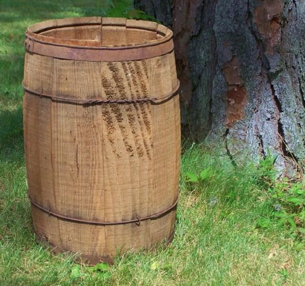 Antique Wood And Metal Nail Keg Barrel