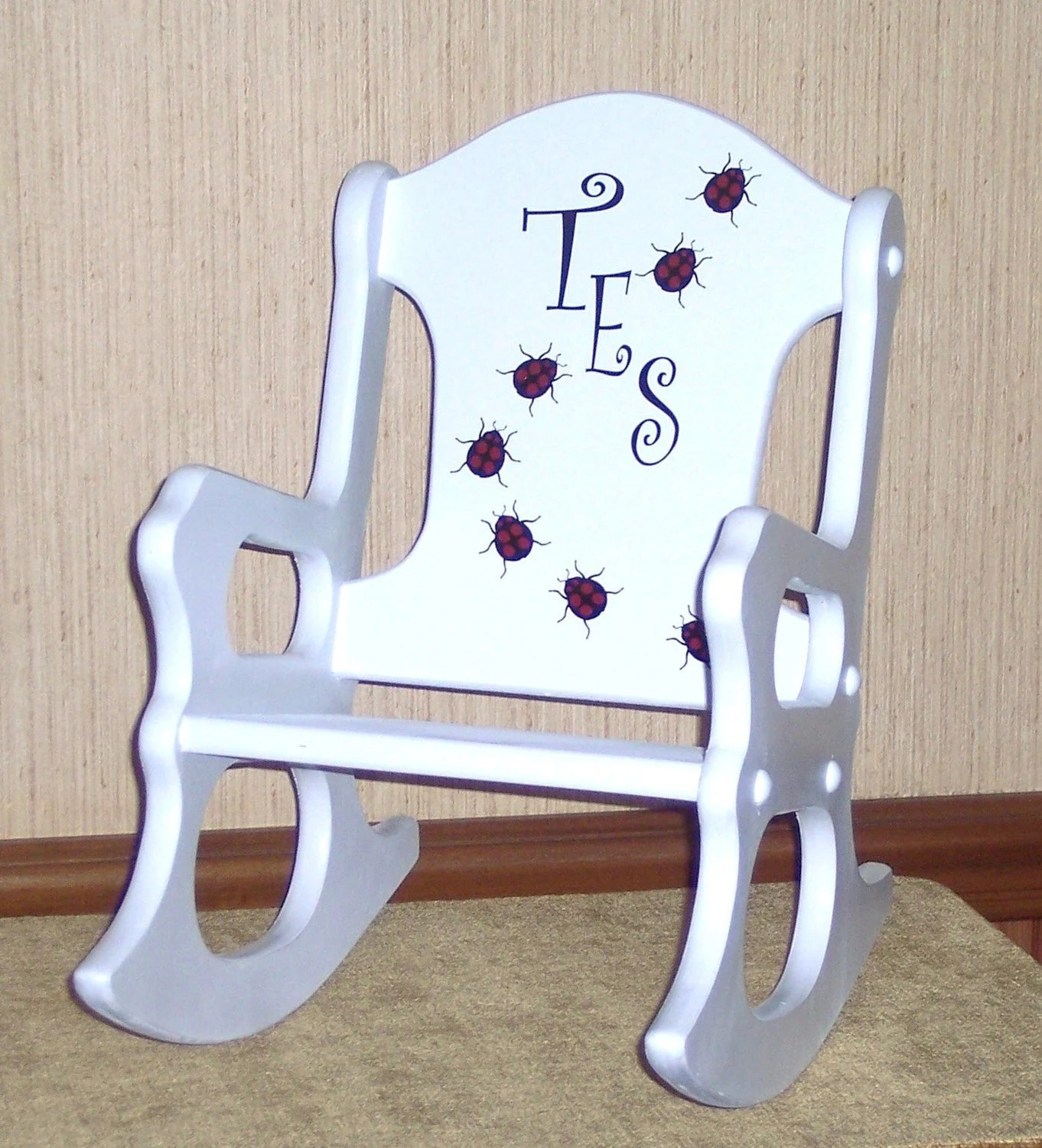 personalized little kid chair covers wedding cheap toddler rocking ladybugs by weaverwood