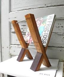 Modern Magazine Rack. Reclaimed Wine Barrel. French Oak