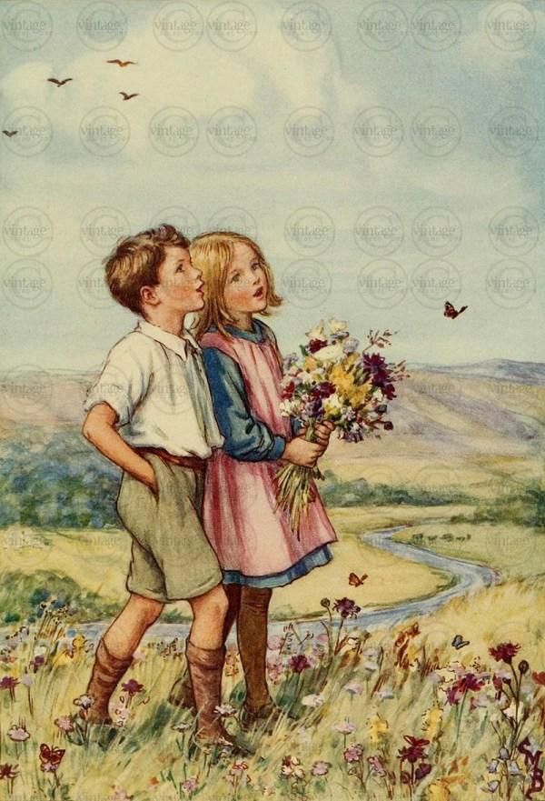 Vintage Antique Children' Fairy Tale Wall Art Vintagescrapbox