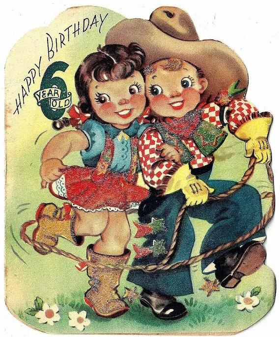 Vintage 1950 Cowboy Cowgirl Happy Birthday Greeting Card