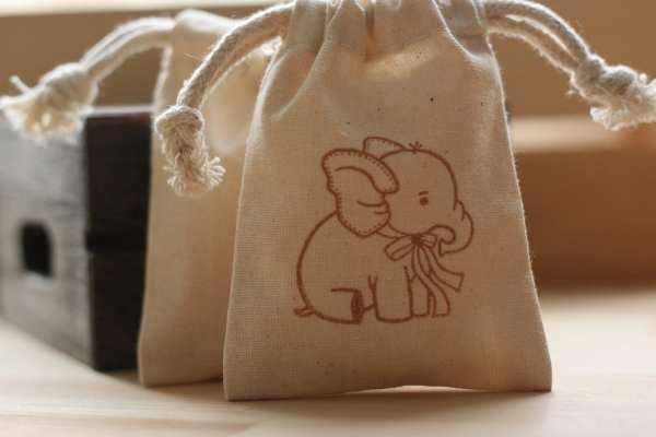 Muslin favor bags BaBy ELePhAnT x10 muslin baby by