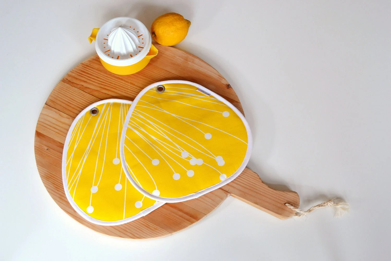 zesty mod kitchen bright yellow and white pair of potholders - large and thick - xxxRedStitcHxxx