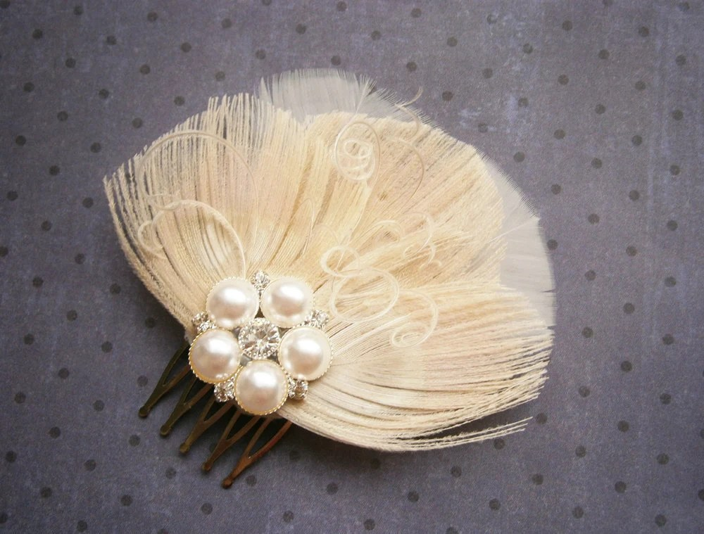 Ivory Feather Accessory Facinator Bridal Weddings By