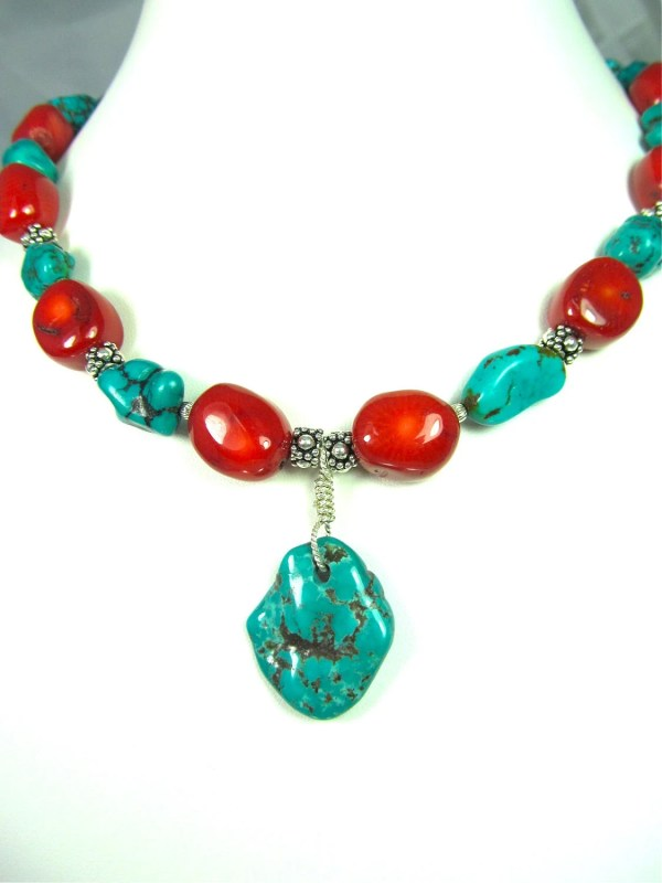 Chunky Turquoise And Red Coral Necklace