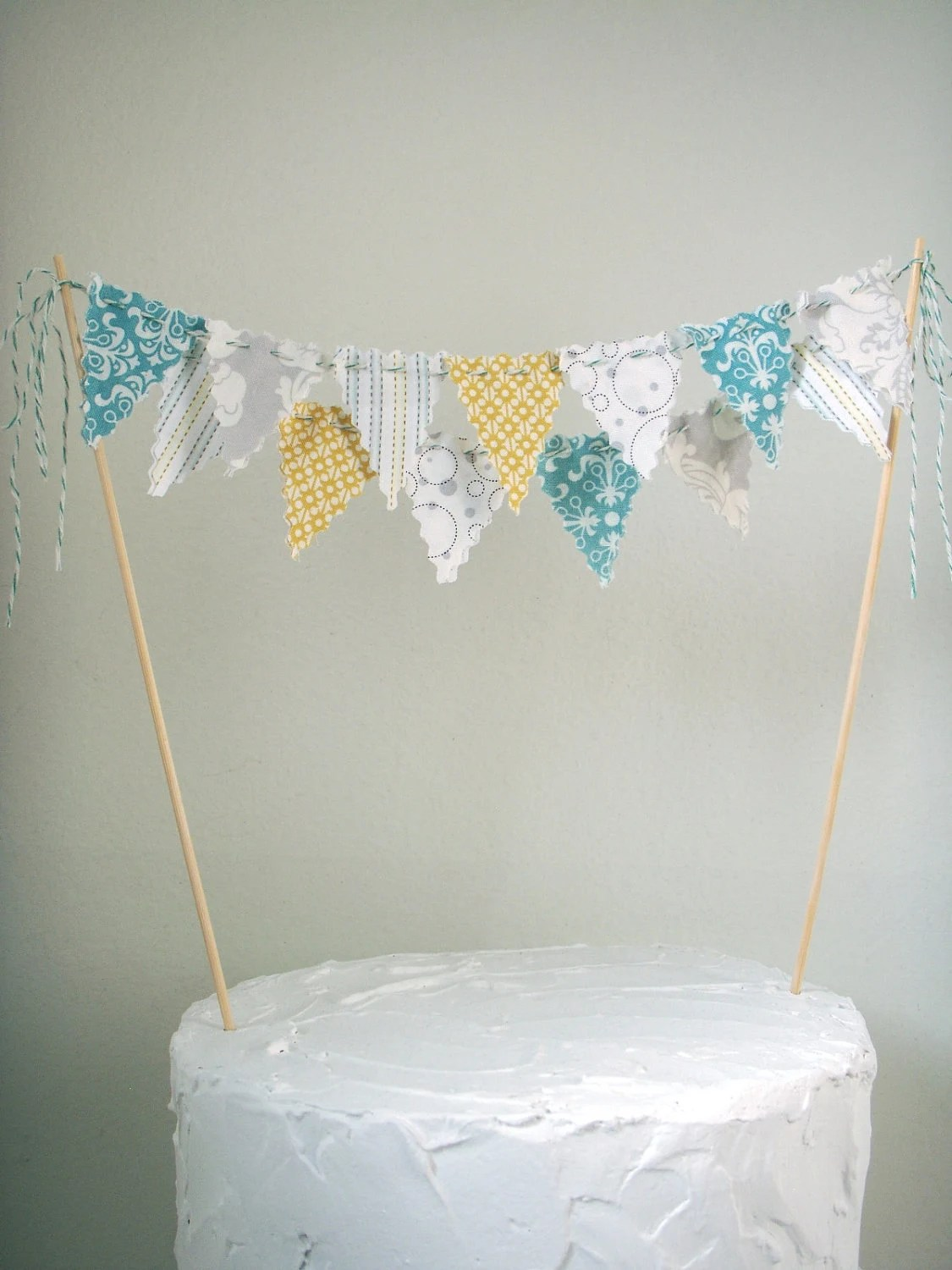how to make a baby shower chair old fashioned step stool cake bunting topper grey yellow aqua white