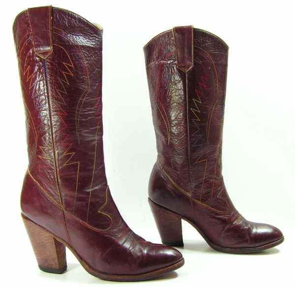 Cowboy Boots Womens 7 Burgundy High Heel Leather Western