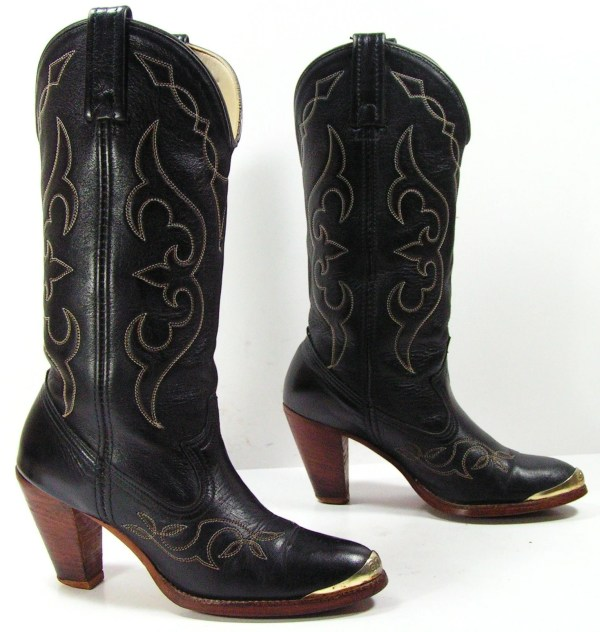 Vintage Cowboy Boots Womens 5 Acme Black High Heel Cowgirl