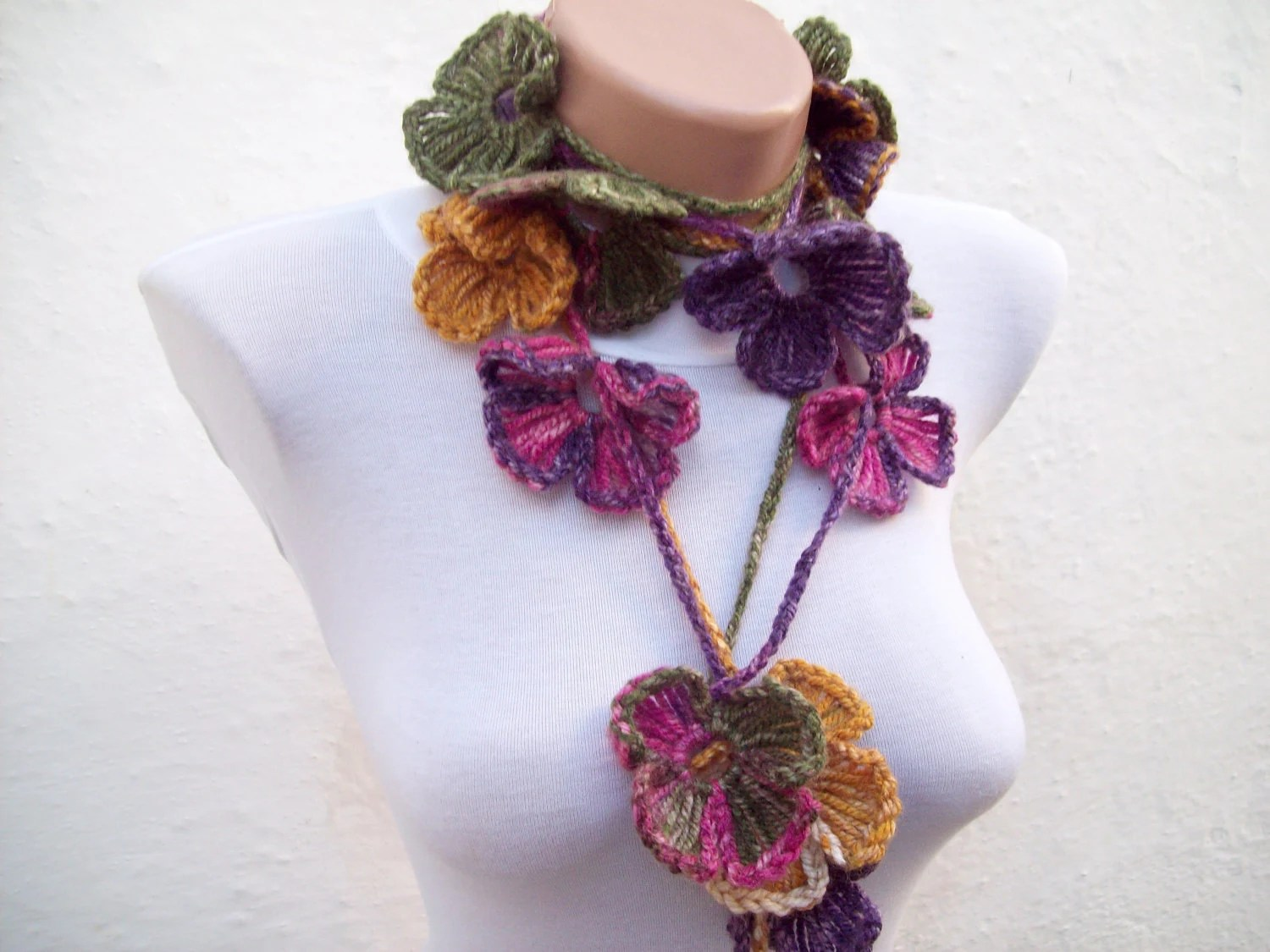 Hand crochet Lariat Scarf  Pink Purple Green  Flower Lariat Scarf Colorful Variegated Long Necklace - nurlu