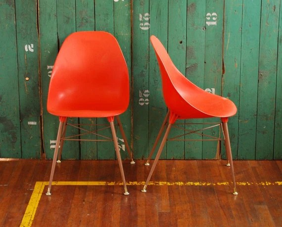 eames bucket chair low back dining chairs style tangerine orange plastic