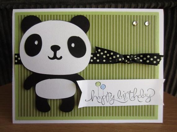 Handmade Panda Greeting Card Happy Birthday