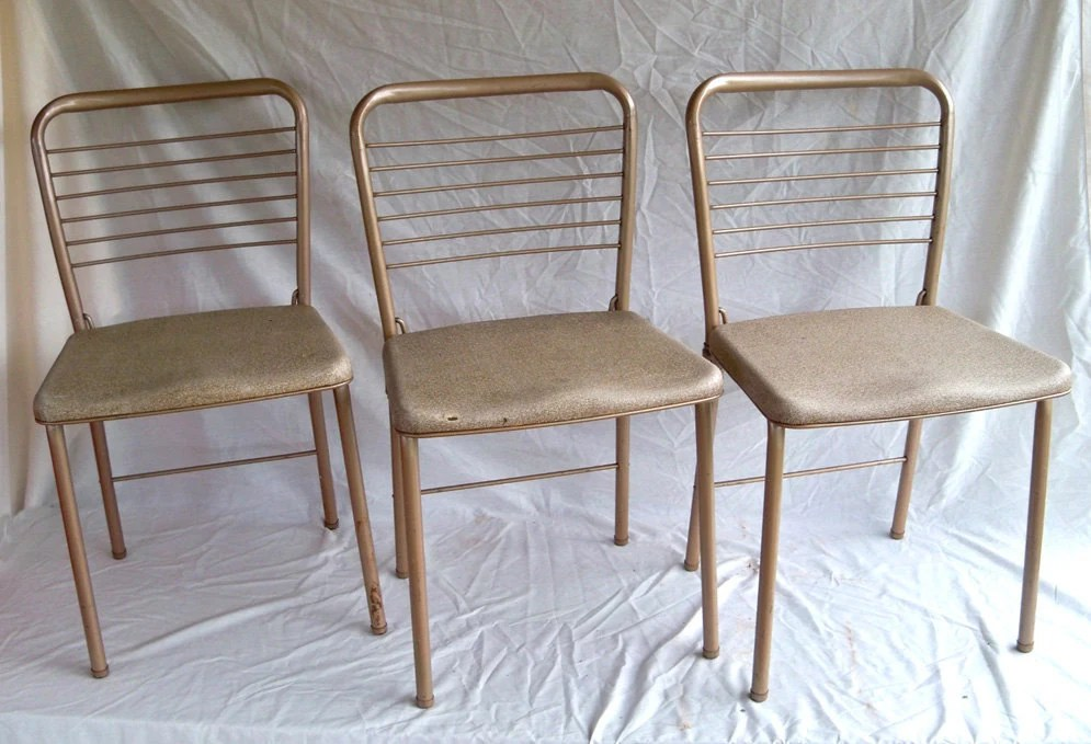 Set of 3 1955 Cosco Fashionfold Folding Chairs MidCentury