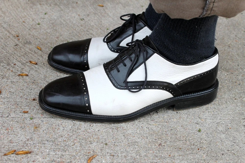 Vintage Italian Mens Two Tone Black Amp White Leather Shoes